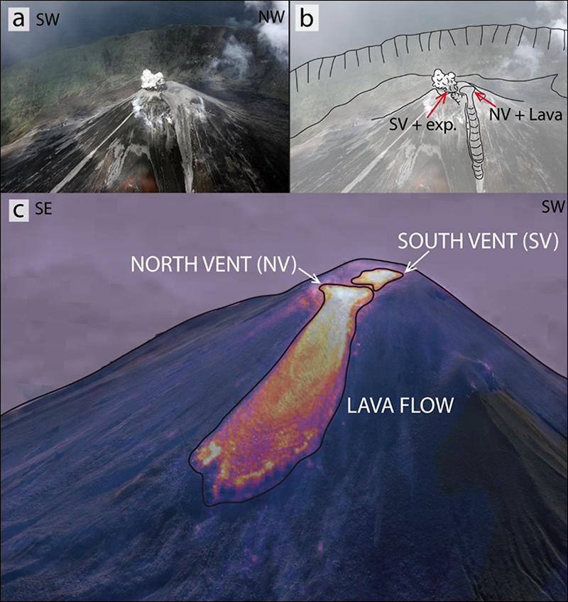 Explosion in the southern vent on 7 June 2017 and a small lava flow associated with the north vent.