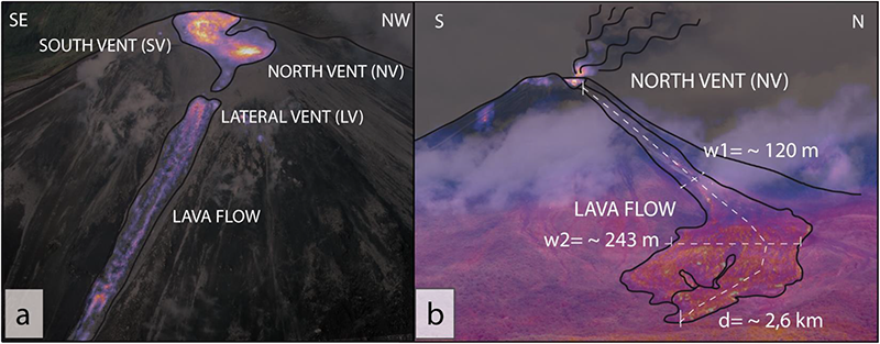 Visible and thermal images showing the two summit vents, the lateral vent, and lava flow on 2 June 2017.
