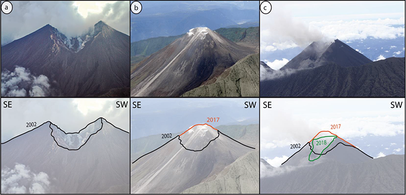 Part of the summit of El Reventador volcano was destroyed in 2002, but the crater is almost completely filled in now.