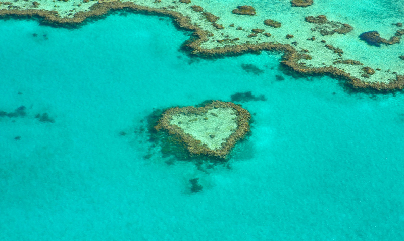 Heart-shaped reef island in the Great Barrier Reef