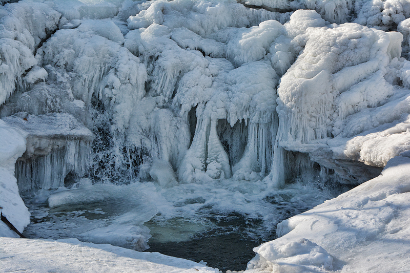 Heart-shaped frozen waterfall