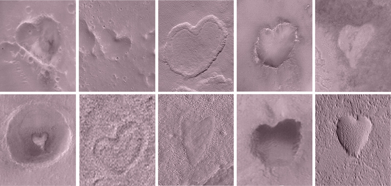 Heart-shaped craters on Mars