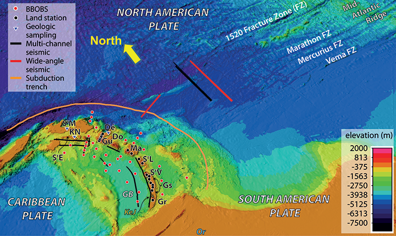 Bathymetric-topographic map from the Mid-Atlantic Ridge to the Antilles Arc