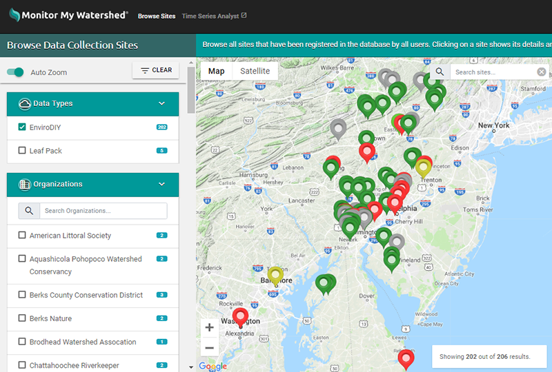 Map of sensor stations reporting data to the Monitor My Watershed data portal