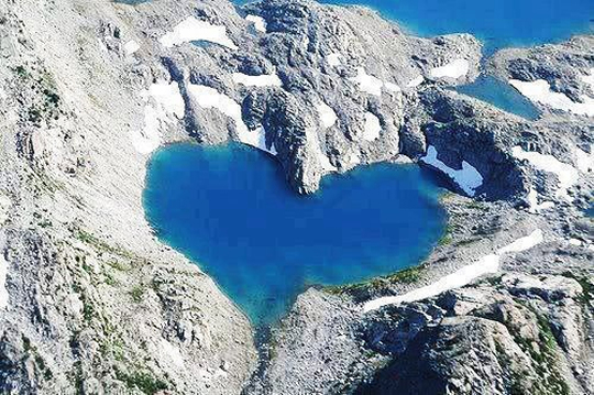 Heart-shaped Shimshal Lake in Pakistan