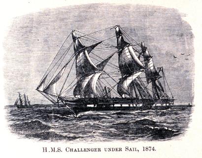 HMS Challenger under sail in 1874