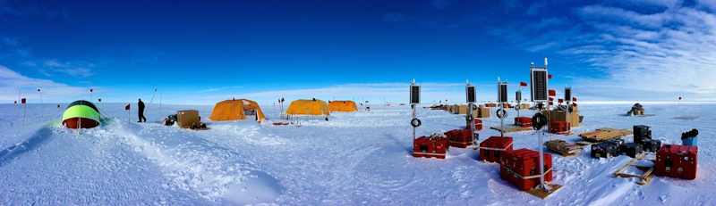 View of a seismic survey location on the Ross ice shelf