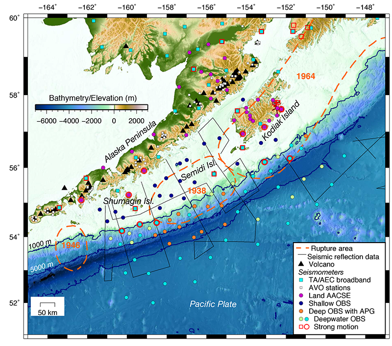 Map of the AACSE deployment and the southwestern Alaska margin