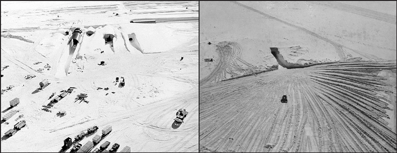 Northeast portal to Camp Century during construction in 1959 (left) and in 1964 (right), shortly before the base was abandoned.