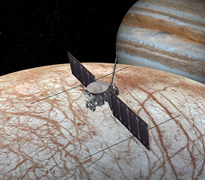 An artist's rendering of the Europa Clipper orbiter flying above Europa's surface.