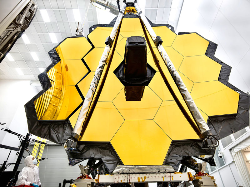 The gold-coated primary mirror of the James Webb Space Telescope