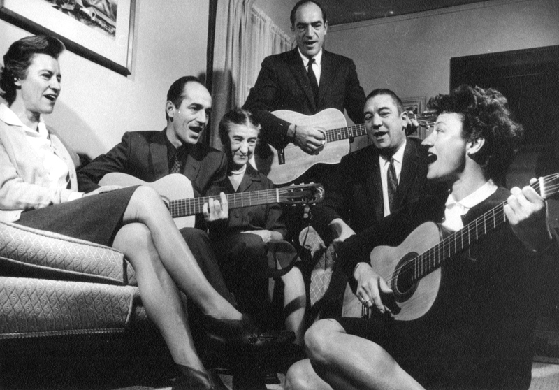 Luna Leopold, river geomorphology genius, and sisters and brothers play guitars/sing, clustered around their mom.