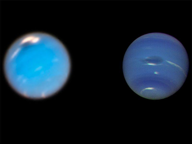 Neptun fotograferet af Hubbble i 2018 (tv og Voyager2 th)