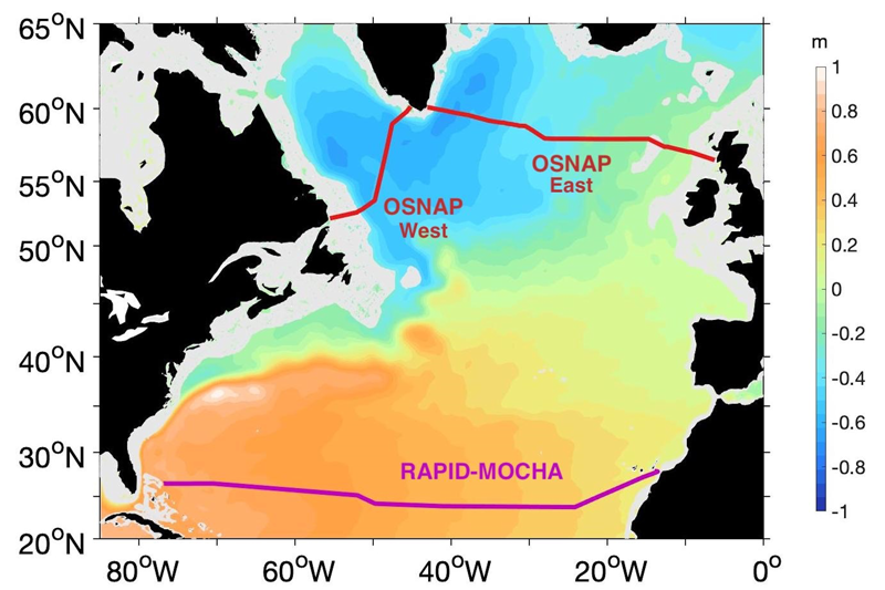 A map of the North Atlantic with the locations of ocean monitoring instruments