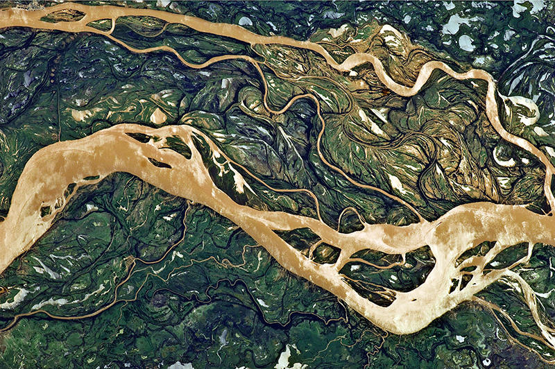 A satellite photo of the floodplain of the Paraná River.