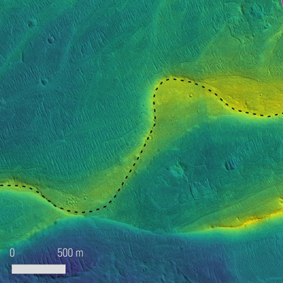 Preserved river channel on Mars