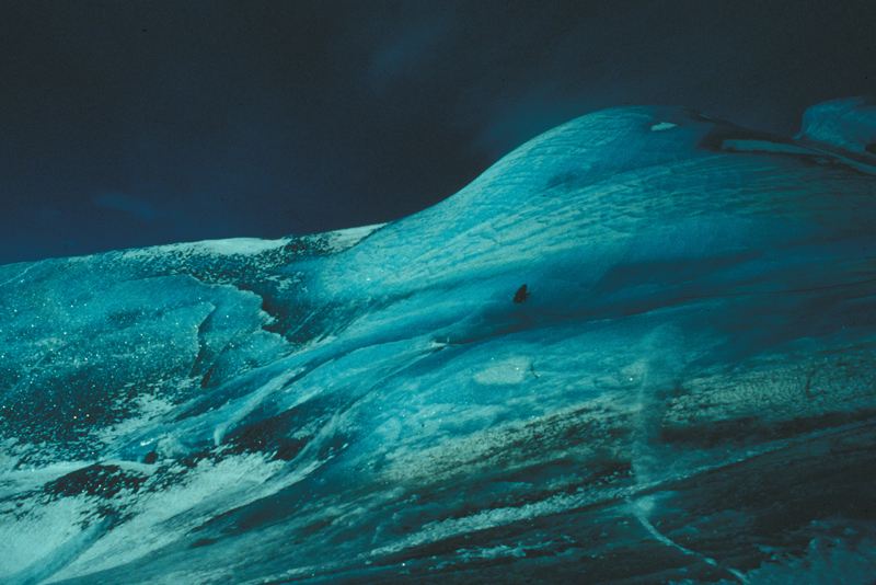 Researchers on top of a large composite iceberg in October 1996.