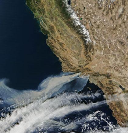 Satellite image of wildfires in California, 2017