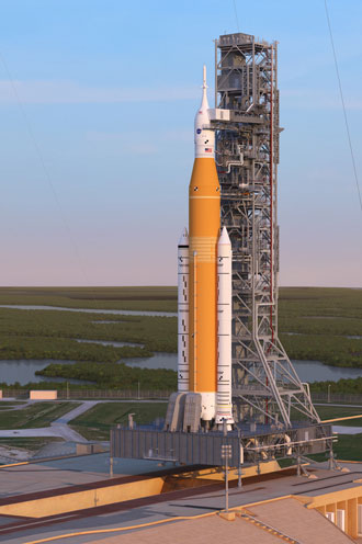 Artist's rendering of the Space Launch System with the Orion spacecraft