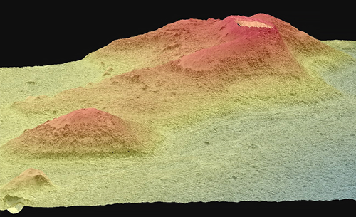 A 3-D model of proposed ocean shorelines along a crater rim in the northern plains of Mars