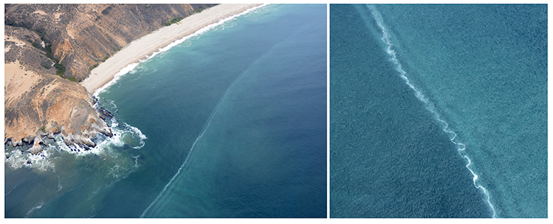 Aerial photographs of an internal bore front propagating toward Mussel Point.