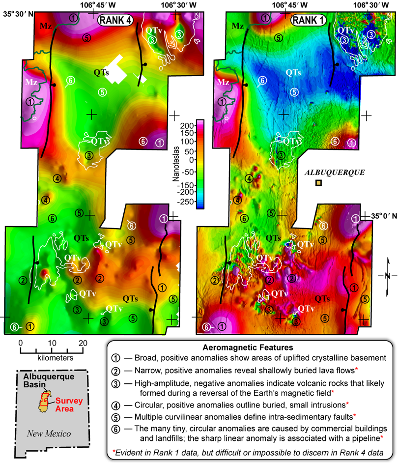 Rank 1 and Rank 4 aeromagnetic surveys for geologic mapping of the Albuquerque Basin near Albuquerque, N.M.