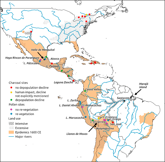 Map of the Americas showing pre-Columbian land use