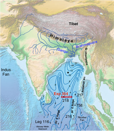 Bathymetric map of the Bay of Bengal
