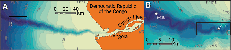False-color map of the Congo River mouth and submarine canyon
