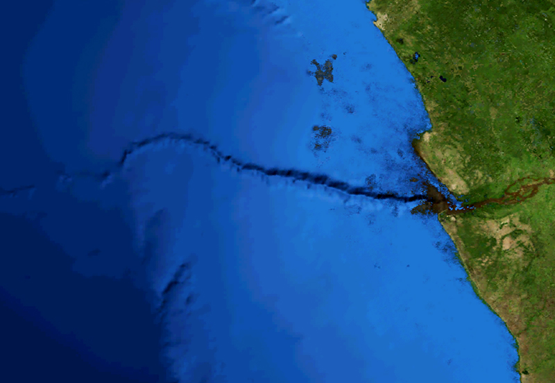 False-color map of a submarine canyon