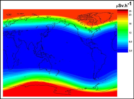A map of global radiation doses at 40,000 feet during a solar event