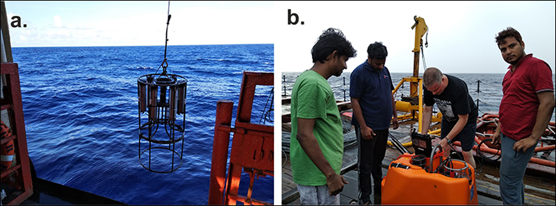 The scientific team tests the releaser and assembles the OBS before releasing it into the deep parts of Indian Ocean.