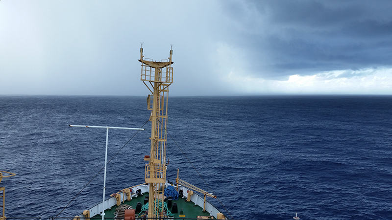 View from the deck of the ORV <em>Sagar Kanya</em> during the pilot phase of OBS deployments in the Indian Ocean.