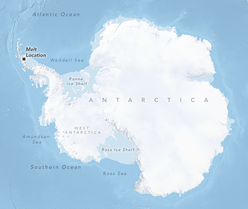 Map showing the location of late summer/early autumn 2015–2017 melting on the Antarctic Peninsula's Larsen C ice shelf