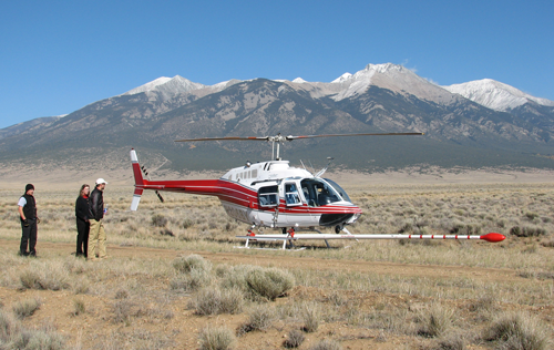 Preparing to survey the magnetic field near Great Sand Dunes National Park and Preserve in Colorado.