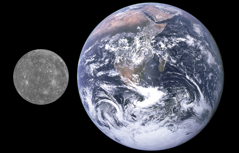 Size comparison of Mercury and Earth