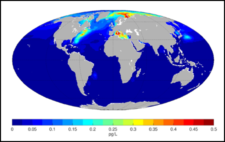 Map of PCB concentrations in the ocean surface areas