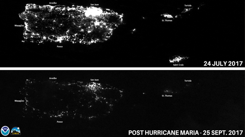 Comparison of lights at night in Puerto Rico before (top) and after (bottom) Hurricane Maria.