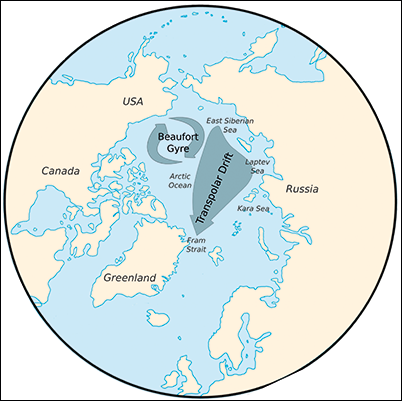 Map of the Arctic illustrating the Transpolar current
