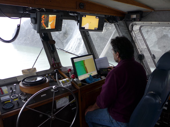 USGS research vessel collects bathymetric data