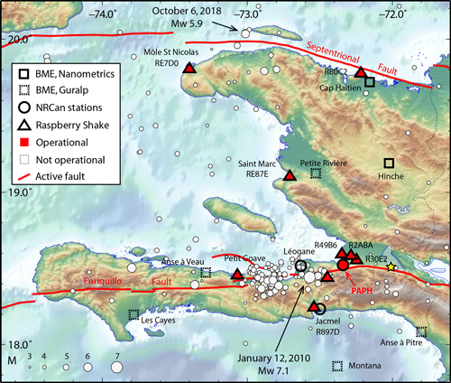 Seismic stations in Haiti and seismic activity as reported by the U.S. Geological Survey from August 1946 to 14 January 2019.