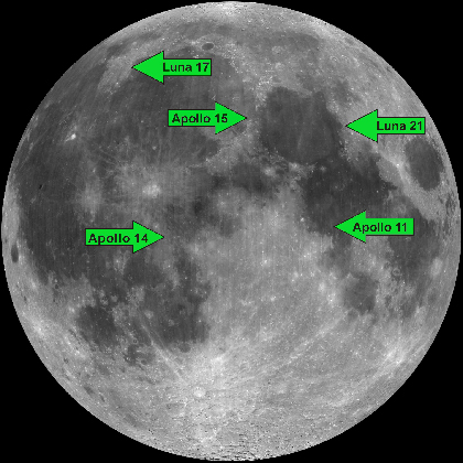 Map of the Moon with arrows pointing to sites with retroreflectors