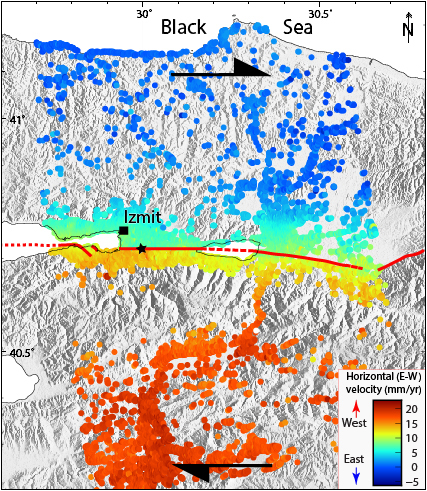 This map shows changes in horizontal velocity parallel to the North Anatolian Fault for the period 2011 to 2017.