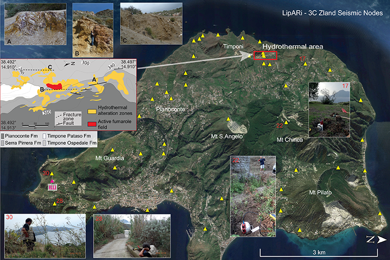 Three-dimensional perspective view of Lipari Island with site photos at selected locations.