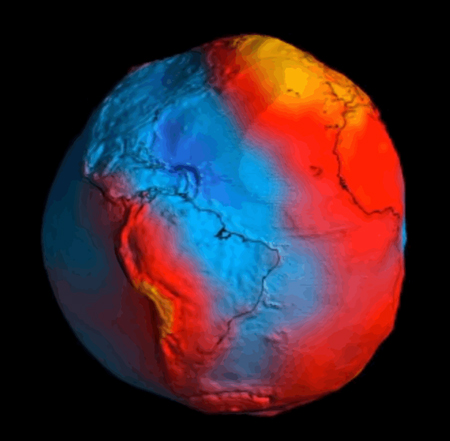 Geoid model showing areas of stronger gravity (red) and weaker gravity (blue) measured by the GOCE satellite.