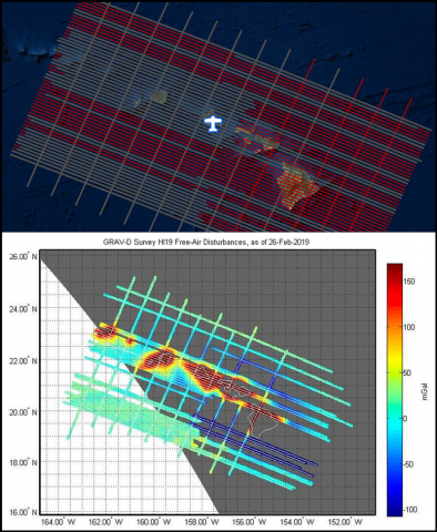 Plane survey and gravity map of Hawaii