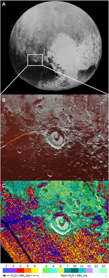Map of ammonia deposits in Virgil Fossae on Pluto