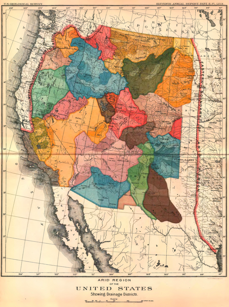 Map of the western United States with watersheds in bright colors