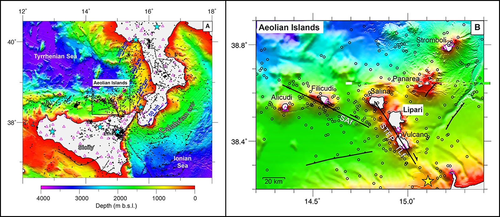 These tectonic and bathymetric maps show southern Italy and the Aeolian Islands.
