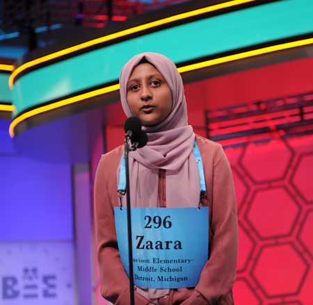Zaara Noor in the 92nd Scripps National Spelling Bee